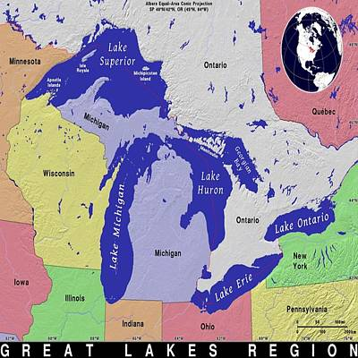Mixed Media - Great Lakes Exotic Map by Florene Welebny