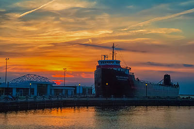 Great Lakes Freighter At Sunset Art Print