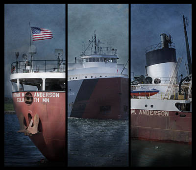 Great Lakes Freighter Triptych Arthur M Anderson Art Print by Evie Carrier