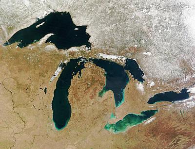 Lake Erie Wall Art - Photograph - Great Lakes by Nasa/science Photo Library