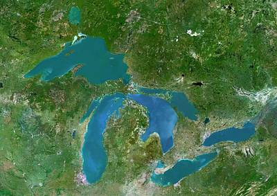 Lake Erie Wall Art - Photograph - Great Lakes by Planetobserver/science Photo Library