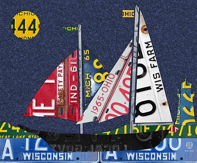 Lake Art Mixed Media - Great Lakes States Sailboat Recycled Vintage License Plate Art by Design Turnpike