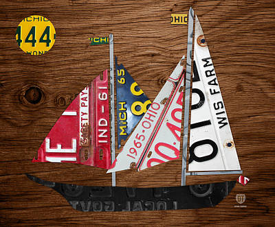 Great Lakes States Sailboat Recycled Vintage License Plate Art On Wood Print by Design Turnpike