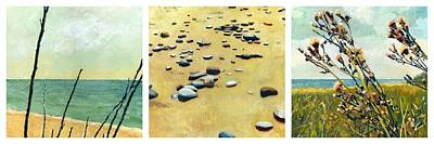 Pebbles Painting - Great Lakes Triptych by Michelle Calkins