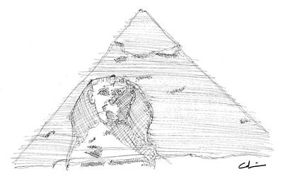 Drawing - Great Pyramid Sphinx Sketch by Calvin Durham