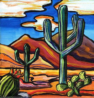 Sonoran Desert Painting - Great Saguaros by Alexandria Winslow
