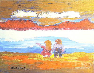 Great Salt Lake Utah And Children Art Print by Richard W Linford