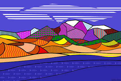 Print featuring the digital art Great Sand Dunes by Randall Henrie