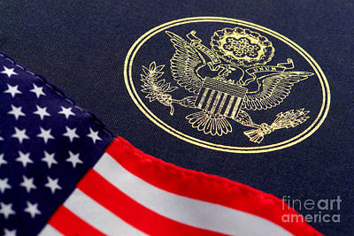 Waving Flag Photograph - Great Seal Of The United States And American Flag by Olivier Le Queinec