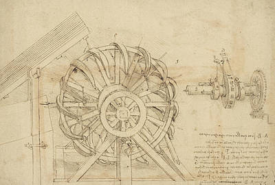 Drawing - Great Sling Rotating On Horizontal Plane Great Wheel And Crossbows Devices From Atlantic Codex by Leonardo Da Vinci