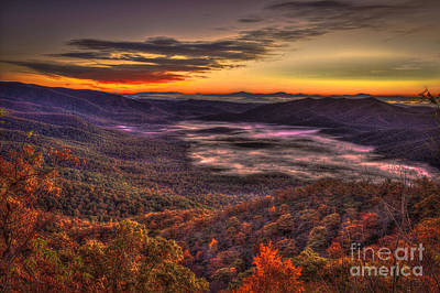 Great Smokey Mountains Pink Beds Art Print by Reid Callaway
