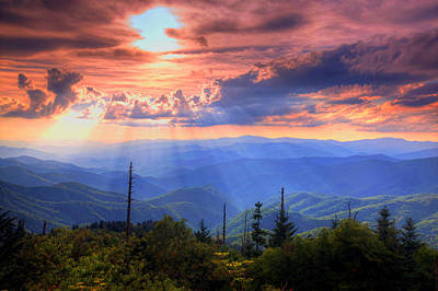 Mountain Sunset Photograph - Great Smoky Mountains  by Doug McPherson