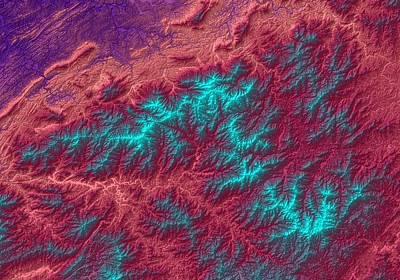 Boardroom Digital Art - Great Smoky Mountains Map Art by Paul Hein