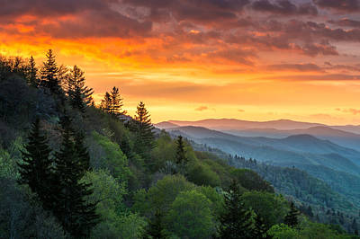 Great Smoky Mountains North Carolina Scenic Landscape Cherokee Rising Art Print by Dave Allen