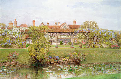 Waterlily Painting - Great Tangley Manor, Surrey by Thomas H. Hunn