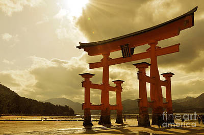 Tori Photograph - Great Torii Of Miyajima by Delphimages Photo Creations