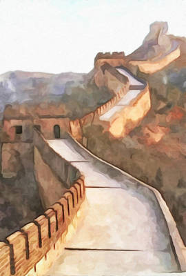 Built Structure Painting - Great Wall Of China 1 by Lanjee Chee
