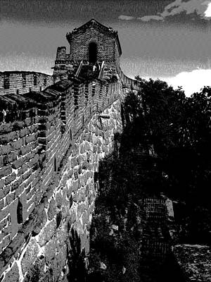 Photograph - Great Wall Of China - Beijing - Mu Tian Yu - Bw by Jacqueline M Lewis