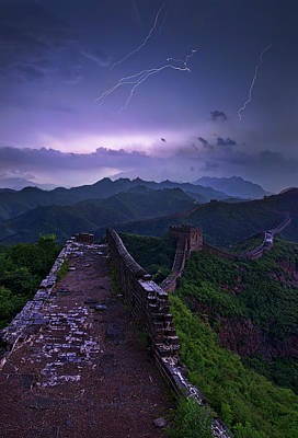 Lightning Photograph - Great Wall by Yan Zhang