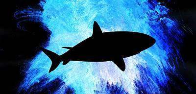 Under The Ocean Painting - Great White by Aaron Berg
