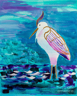 Great White Heron By The Lake Shore Art Print by Beverly Claire Kaiya