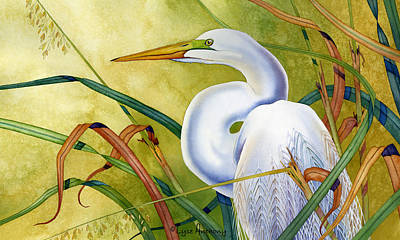 Great White Heron Art Print by Lyse Anthony