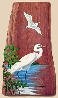 Painting - Great White Herons by Duane McCullough