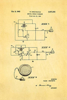 Saving Photograph - Greatbatch Cardiac Pacemaker Patent Art 1962 by Ian Monk