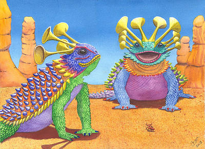 Ant Painting - Greater And Lesser Horned Lizards by Catherine G McElroy