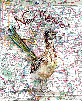 Cuckoo Mixed Media - Greater Roadrunner State Bird Of New Mexico by Cherri Lamarr