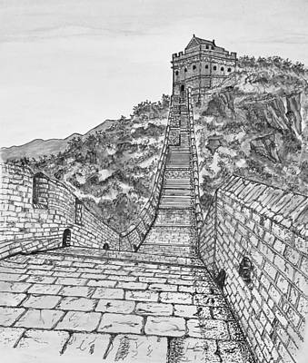 Drawing - Greatest Wall Ever Black And White by Ashley Goforth
