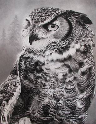 Snowy White Owl Drawing - Greatness by Chad   Mayo