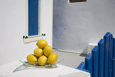 Greece, Cyclades, Santorini, Oia,lemons Art Print by Tips Images