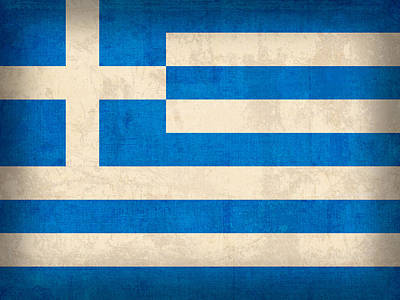 Greece Flag Vintage Distressed Finish Art Print by Design Turnpike