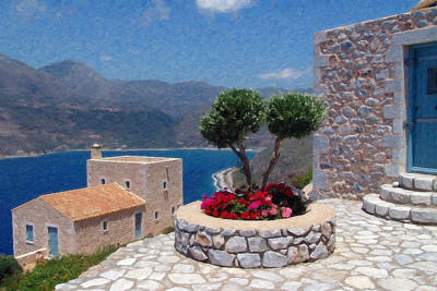 Mani Painting - Greece Grk4146 by Dean Wittle