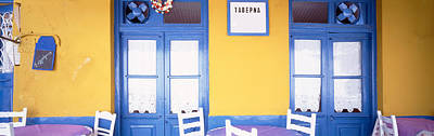 Greece, Hydra, Empty Restaurant Art Print by Panoramic Images