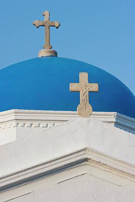 Greece, Mykonos Blue Greek Orthodox Art Print by Jaynes Gallery