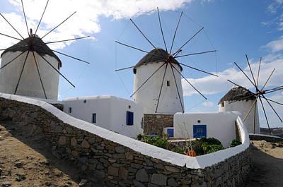 Photograph - Greece - Mykonos Windmills by Haleh Mahbod