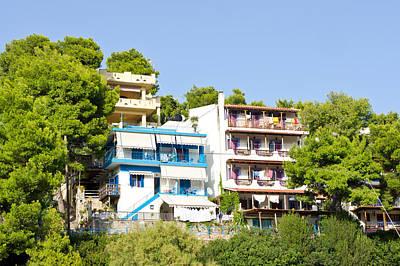 Greek Apartments Art Print by Tom Gowanlock