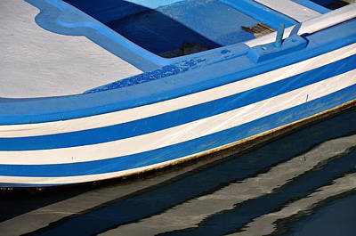 Symi Photograph - Greek Boat Reflections 1 by David ELLIOTT