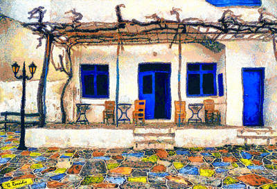 Greek Painting - Greek Cafe 4 by George Rossidis