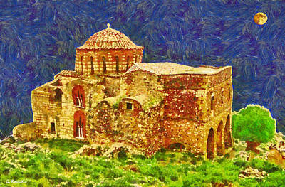 Moon Painting - Greek Church 6 by George Rossidis