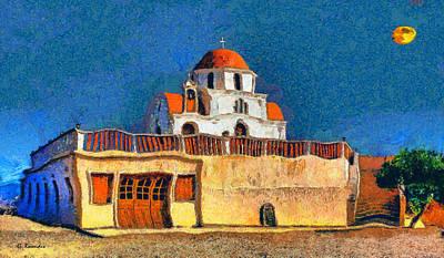 Full Moon Painting - Greek Church 7 by George Rossidis
