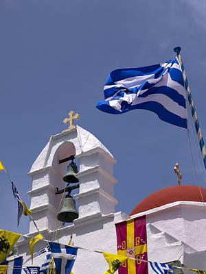 Photograph - Greek Church And Flags by Brenda Kean