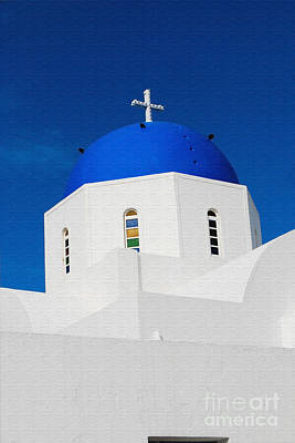 Digital Art - Greek Church In Santorini by Eva Kaufman