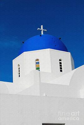 Keith Richards - Greek Church in Santorini by Eva Kaufman