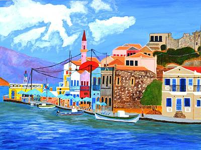 Art Print featuring the painting Greek Coast by Magdalena Frohnsdorff