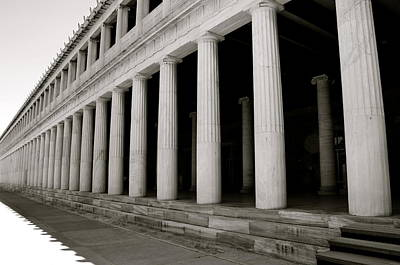 Photograph - Greek Columns Black And White by Corinne Rhode