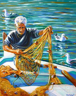 Greek Fisherman Art Print by Yvonne Ayoub