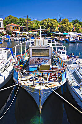 Photograph - Greek Fishing Boat For Sale by Meirion Matthias